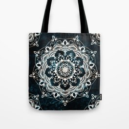 Glowing Spirit Mandala Blue White Bohemian Hippie Zen Indian Yoga Mantra Meditation Tote Bag