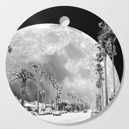 California Dream // Moon Black and White Palm Tree Fantasy Art Print Cutting Board