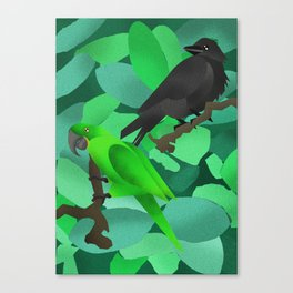 Parrot and Crow Canvas Print