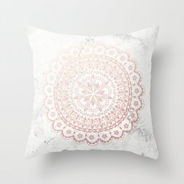 Rose gold mandala and grey marble Throw Pillow