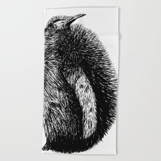 Penguin sketch Beach Towel