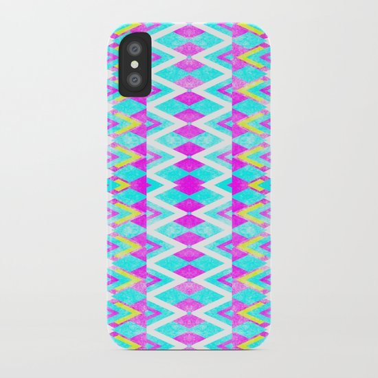 Neon Pink Teal Andes Aztec Triangle Yellow Pattern iPhone Case