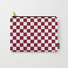Small Checkered - White and Burgundy Red Carry-All Pouch