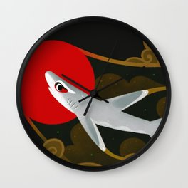 White Tip Reef Shark Wall Clock