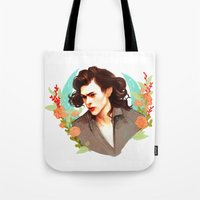 harry styles Tote Bags featuring Harry Styles by chazstity