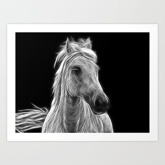 enegetic white horse Art Print