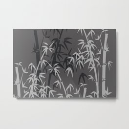 White and black Bamboo grey background Metal Print