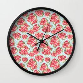 English Roses Blue Polka Dots Wall Clock