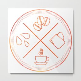 Four Elements of Cappuccino Pictogram Metal Print