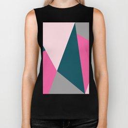 Pink & green geometric design Biker Tank