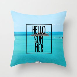 Hello Summer Typography with Turquoise Ocean Throw Pillow