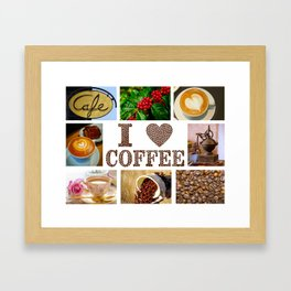 I Love Coffee Collage - Cafe or Kitchen Decor Framed Art Print
