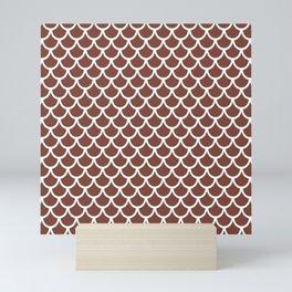 Scales (White & Brown Pattern) Mini Art Print
