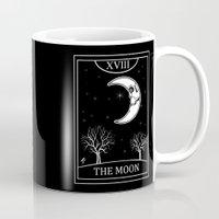 tarot Mugs featuring The Moon Tarot Card by Natasha Sines