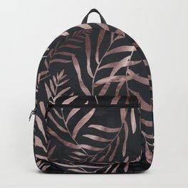 Rose Gold Leaves on Dark Gray Black Backpack