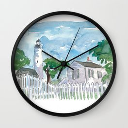 Key West Florida Lighthouse with White Fence Wall Clock