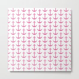 Beach - Nautical - Pink and White Anchor Pattern Metal Print
