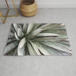 Succulents // Light Green Blue Cactus Plant Leaves Close Up Horizontal Rug