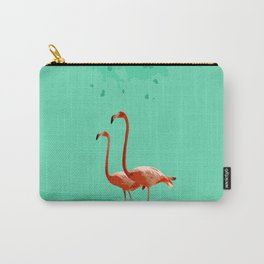 Flamingos on Sea Green Carry-All Pouch