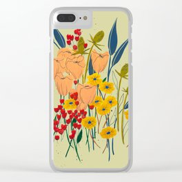 Yellow Wildflowers Clear iPhone Case