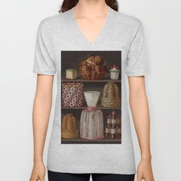 French 1873 Culinary Lithograph pastry confectionery Unisex V-Neck