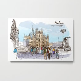 Sketches from Italy - Milan 02 Metal Print
