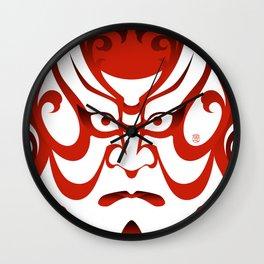 Shibaraku red - a Kabuki Portrait Wall Clock