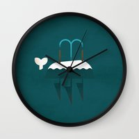 moby dick Wall Clocks featuring Moby Dick by Christian Jackson
