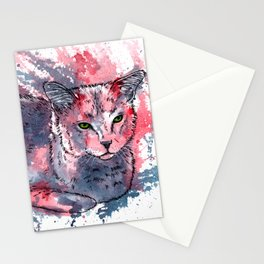 Cat acrylic painting, animal abstract portrait Stationery Cards