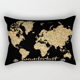 world map gold black wanderlust Rectangular Pillow