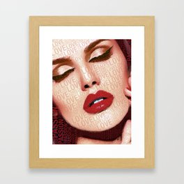 Love And Passion Portrait Of A Woman With Words Framed Art Print