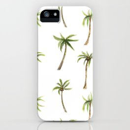 Watercolor palm trees pattern iPhone Case