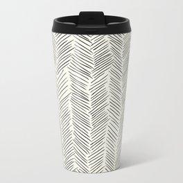 Herringbone Black on Cream Metal Travel Mug
