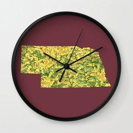 Nebraska in Flowers Wall Clock