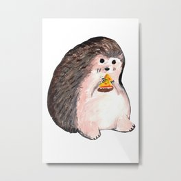 hedgehog eating pizza Metal Print