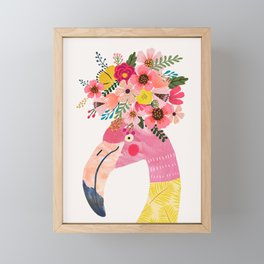 Pink flamingo with flowers on head Framed Mini Art Print