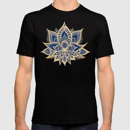 Gold and Blue Lotus Flower Mandala T-shirt