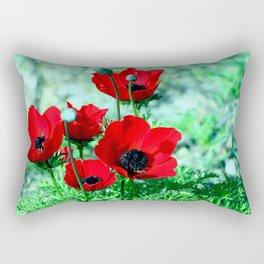 Red Anemones Rectangular Pillow
