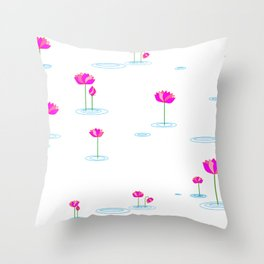 Water Lilies in Pink Throw Pillow