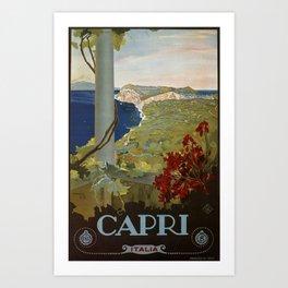 Isle of Capri Italian travel ad Art Print