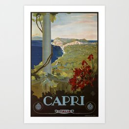 Isle of Capri Italian travel ad Art Print