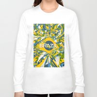 brazil Long Sleeve T-shirts featuring Abstract Brazil by Danny Ivan