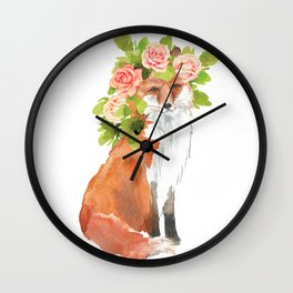 fox with flower crown Wall Clock