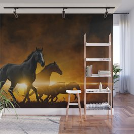 Wild Black Horses Wall Mural