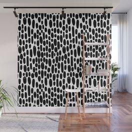 Black and White Creepy Cute Ghosts Pattern Wall Mural