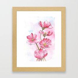 Pink Cosmos Flowers Watercolor Painting Framed Art Print