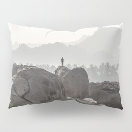 A Silhouette in the Monochromatic Boulders of India Pillow Sham