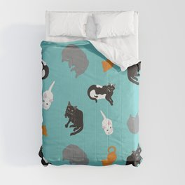 Kitty Cat Illustrated Repeat Pattern Illustration Comforters