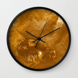 Abstract abandoned car on rusty brown textured background Wall Clock