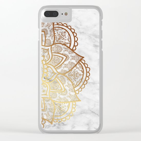 Mandala - Gold & Marble Clear iPhone Case